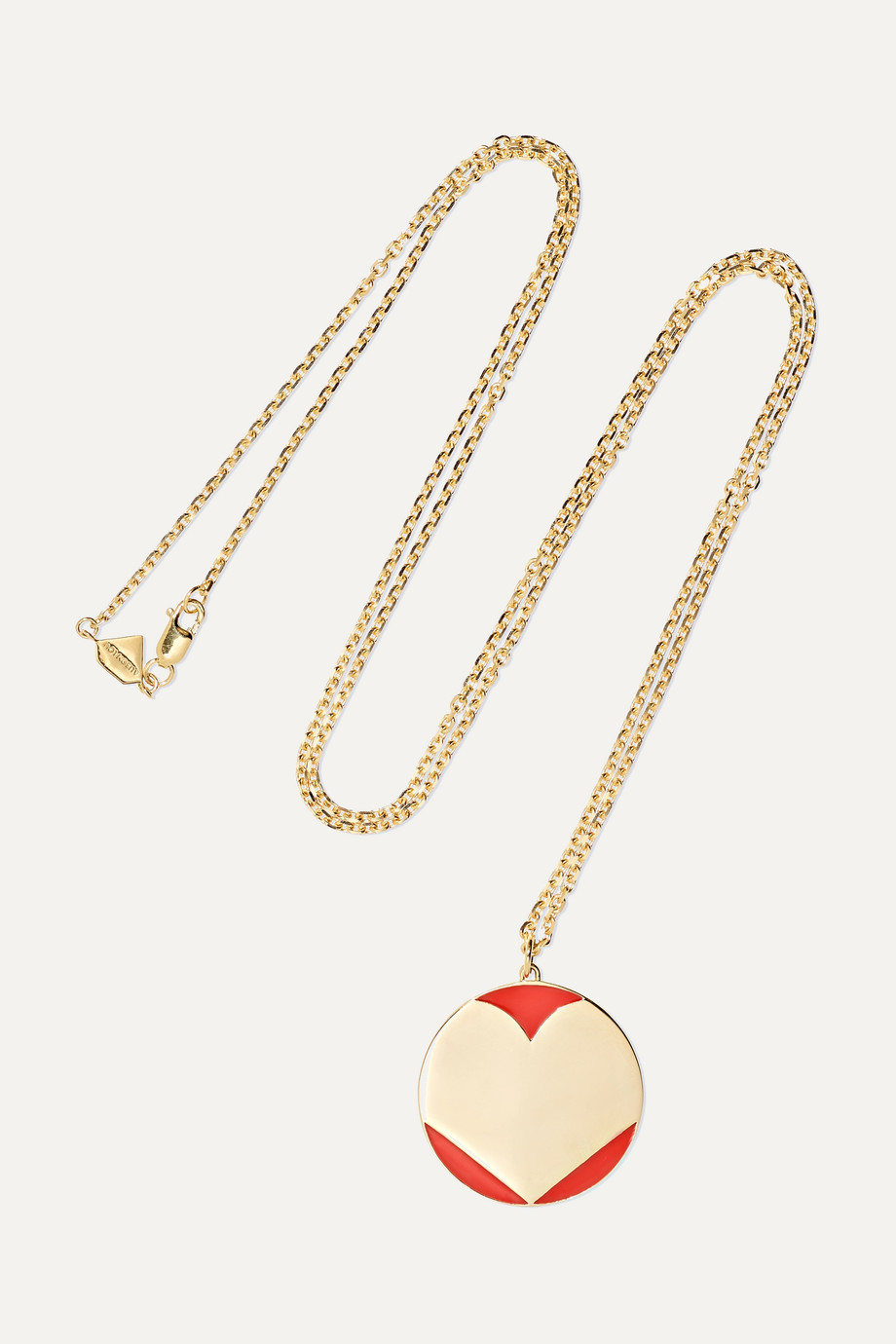 Alison Lou Amour 14-karat gold and enamel necklace