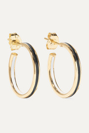 Small Double Linear 14-karat gold and enamel hoop earrings