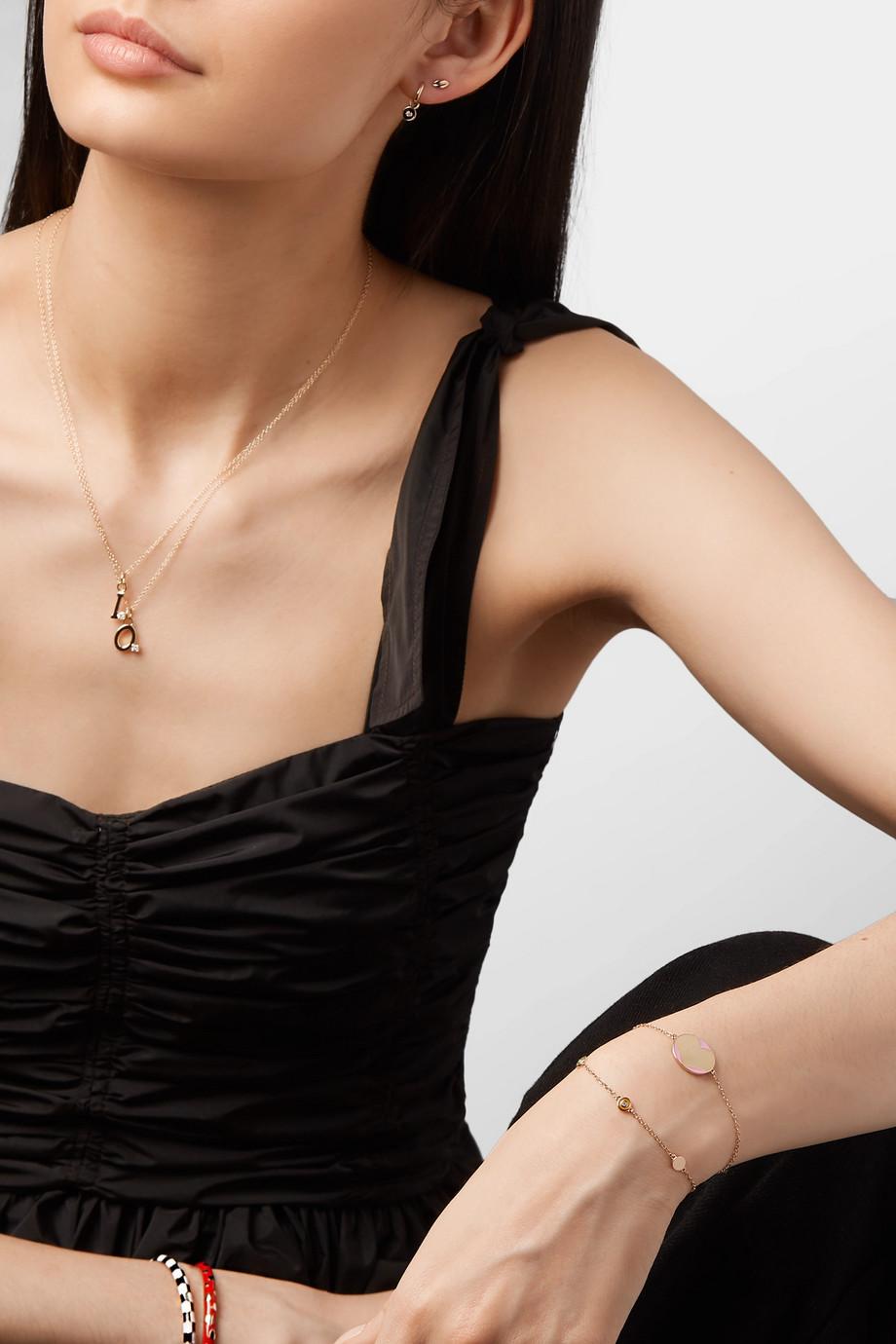 Alison Lou Amour 14-karat gold and enamel bracelet
