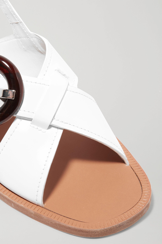 Prada Buckled glossed-leather sandals