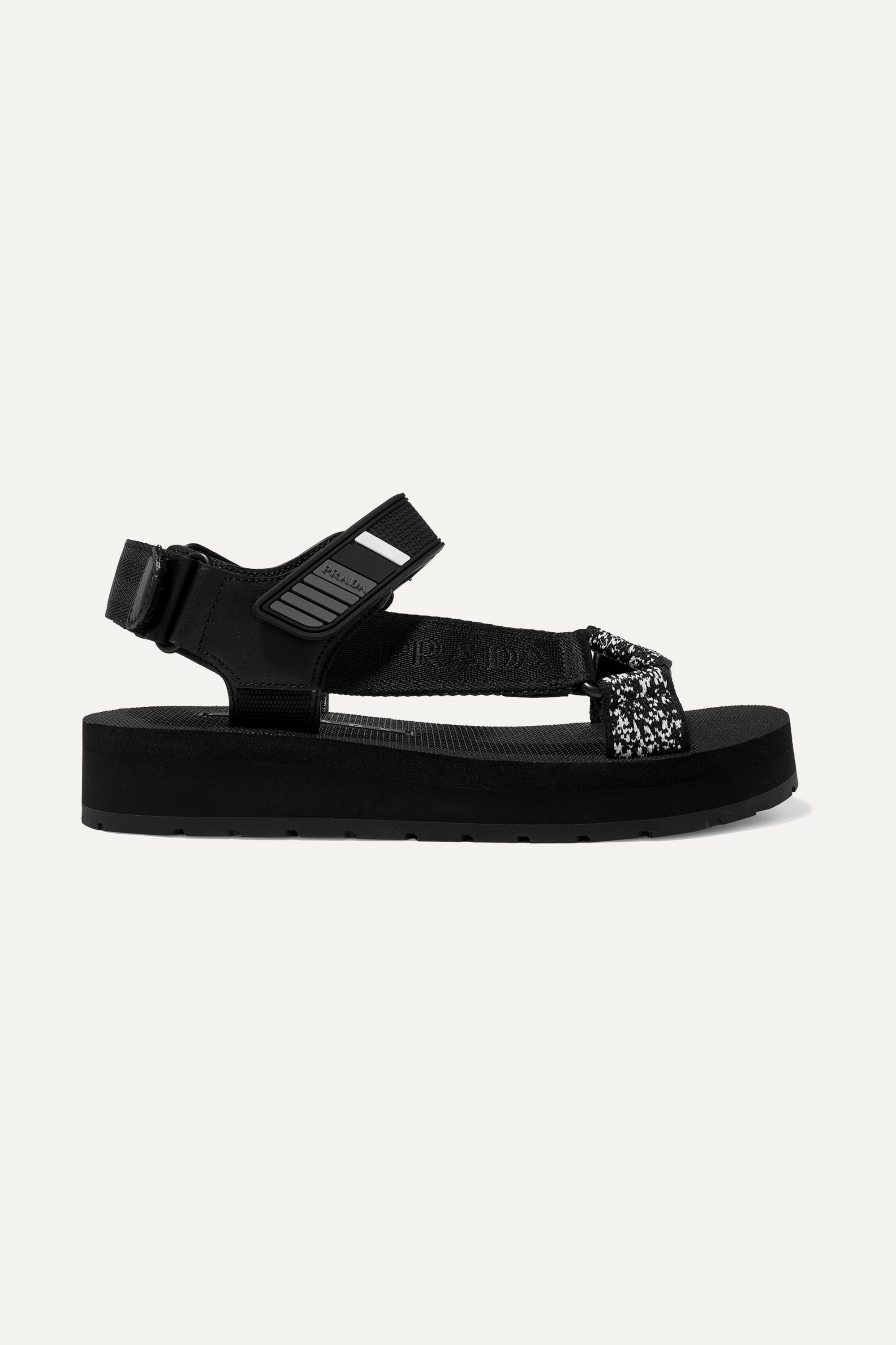 Prada Logo-embossed rubber-trimmed leather and canvas sandals