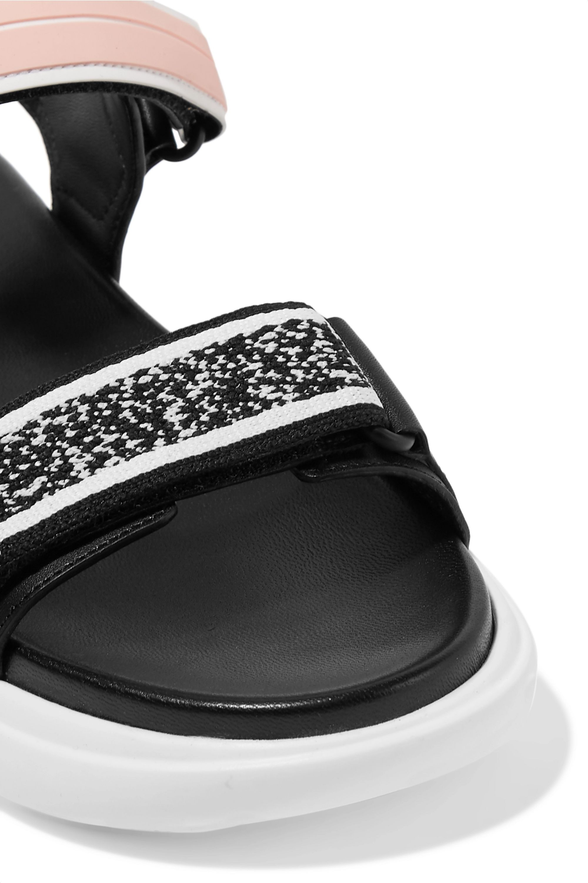 Prada Cloudbust logo-embossed rubber and canvas-trimmed leather sandals