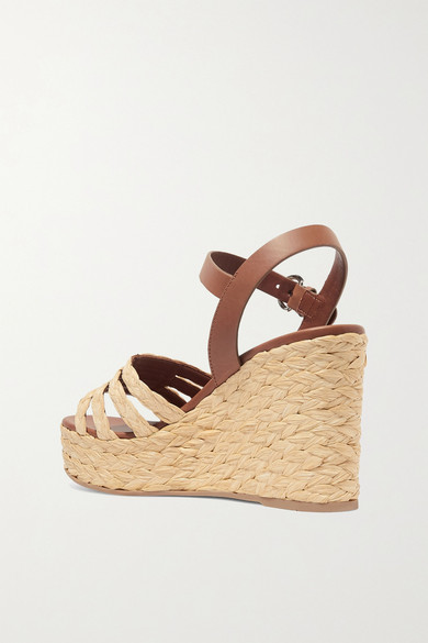 Prada Shoes Leather and woven raffia espadrille wedge sandals