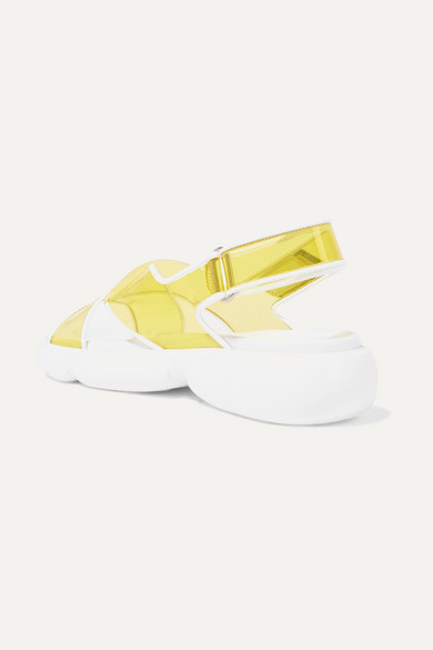 Prada Sandals Logo-embossed rubber-trimmed leather and PVC sandals