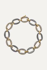 18-karat gold, sterling silver and diamond bracelet