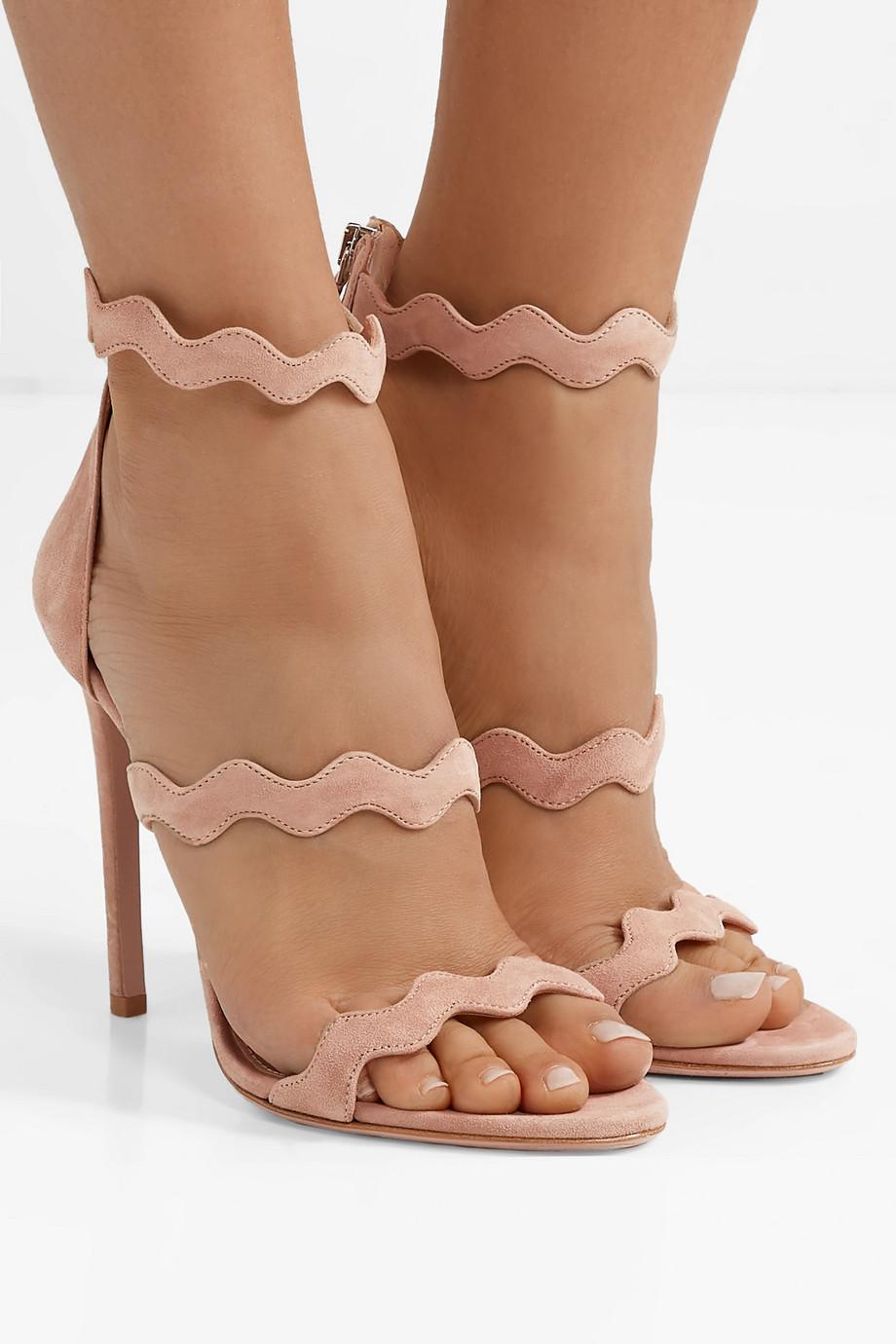 Prada 115 scalloped suede sandals