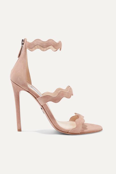 Beige 115 scalloped suede sandals | Prada 197Xvk