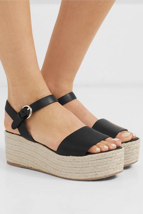 Leather espadrille platform sandals