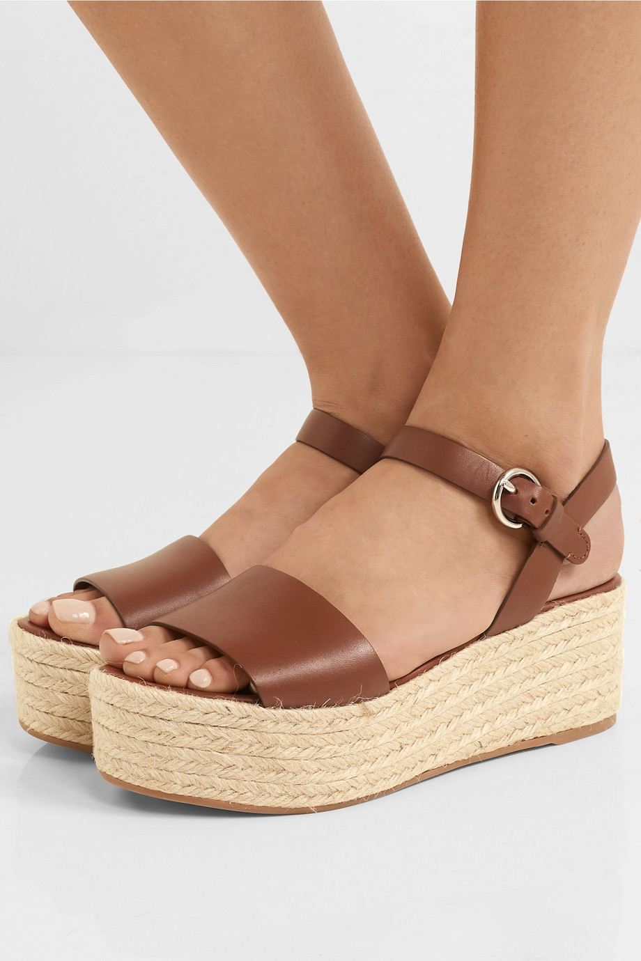 Prada Sandales plates-formes façon espadrilles en cuir