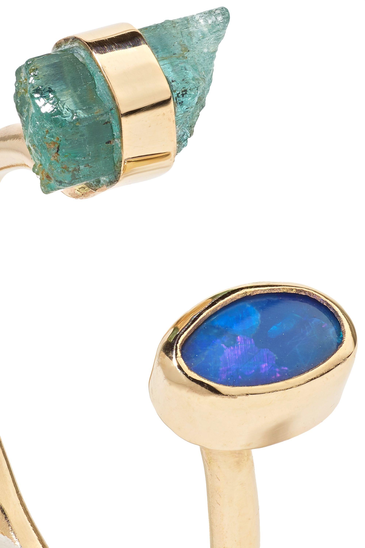 Melissa Joy Manning Ring aus 14 Karat Gold mit Beryll und Opal