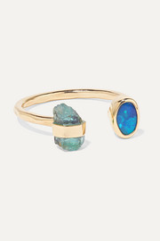 Melissa Joy Manning 14-karat gold, beryl and opal ring