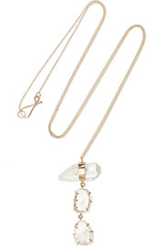 14-karat gold, quartz and moonstone necklace