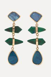 Melissa Joy Manning 14-karat gold, opal and malachite earrings