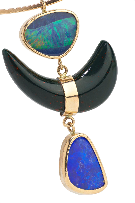 Melissa Joy Manning 14-karat gold, sterling silver, bloodstone and opal necklace