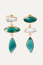 Melissa Joy Manning 18-karat gold and sterling silver multi-stone earrings