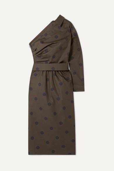 One Shoulder Belted Polka Dot Cotton Poplin Dress by Max Mara