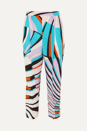 Cropped printed silk crepe de chine tapered pants