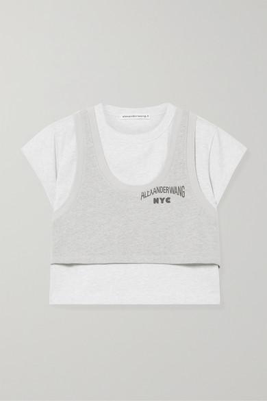 T BY ALEXANDER WANG | T by Alexander Wang - Cropped Layered Cotton-blend Jersey T-shirt - Light gray | Goxip