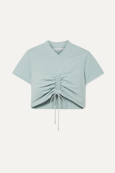 T BY ALEXANDER WANG | T by Alexander Wang - Cropped Ruched Cotton-jersey T-shirt - Sky blue | Goxip