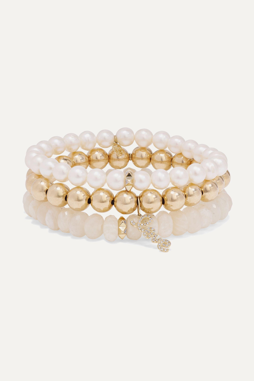 Sydney Evan Love set of three 14-karat gold multi-stone bracelets