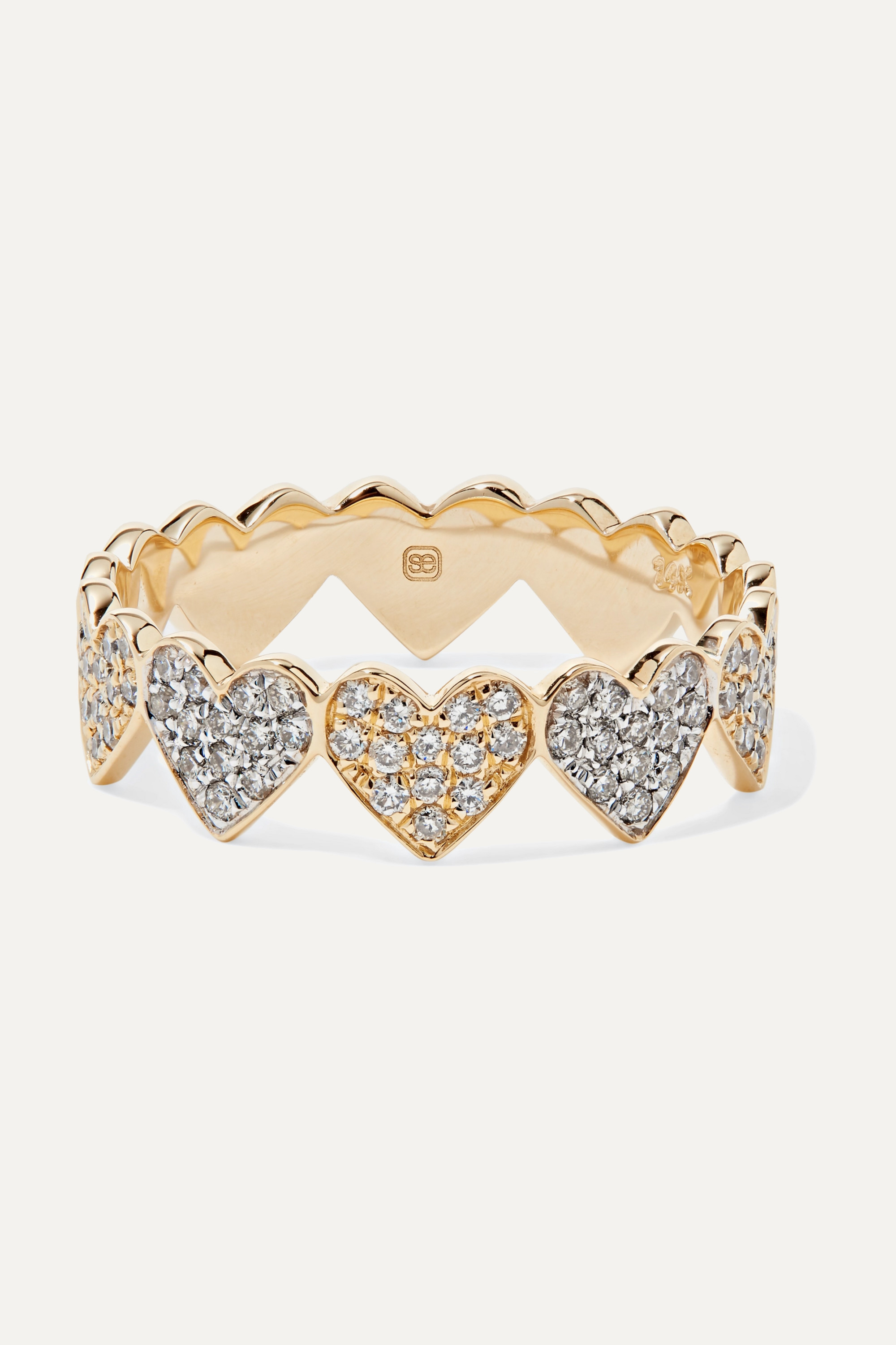Sydney Evan Eternity Heart 14-karat yellow and white gold diamond ring