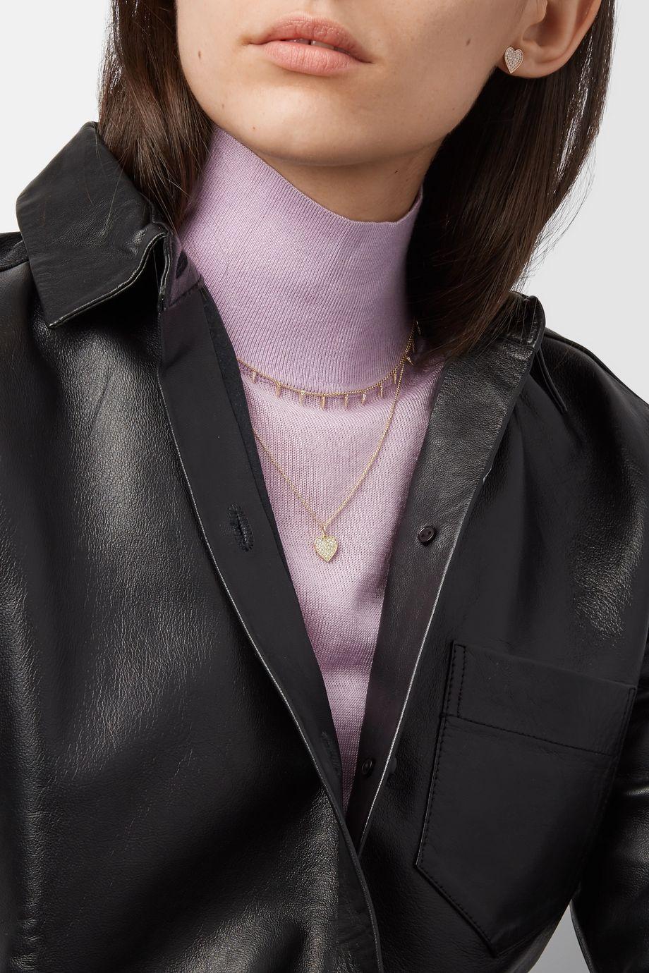 Sydney Evan Mini Heart 14-karat gold diamond necklace