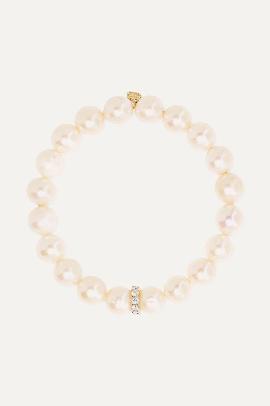 Sydney Evan 14-karat gold, pearl and diamond bracelet