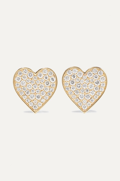 Sydney Evan Accessories MINI HEART 14-KARAT GOLD DIAMOND EARRINGS