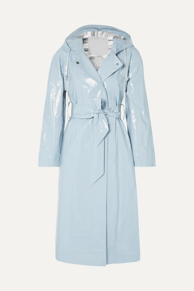 Hooded Belted Coated Cotton Blend Raincoat by Alexachung
