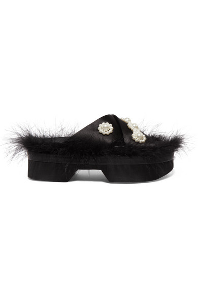 Simone Rocha Slippers Faux pearl and feather-embellished satin platform slides