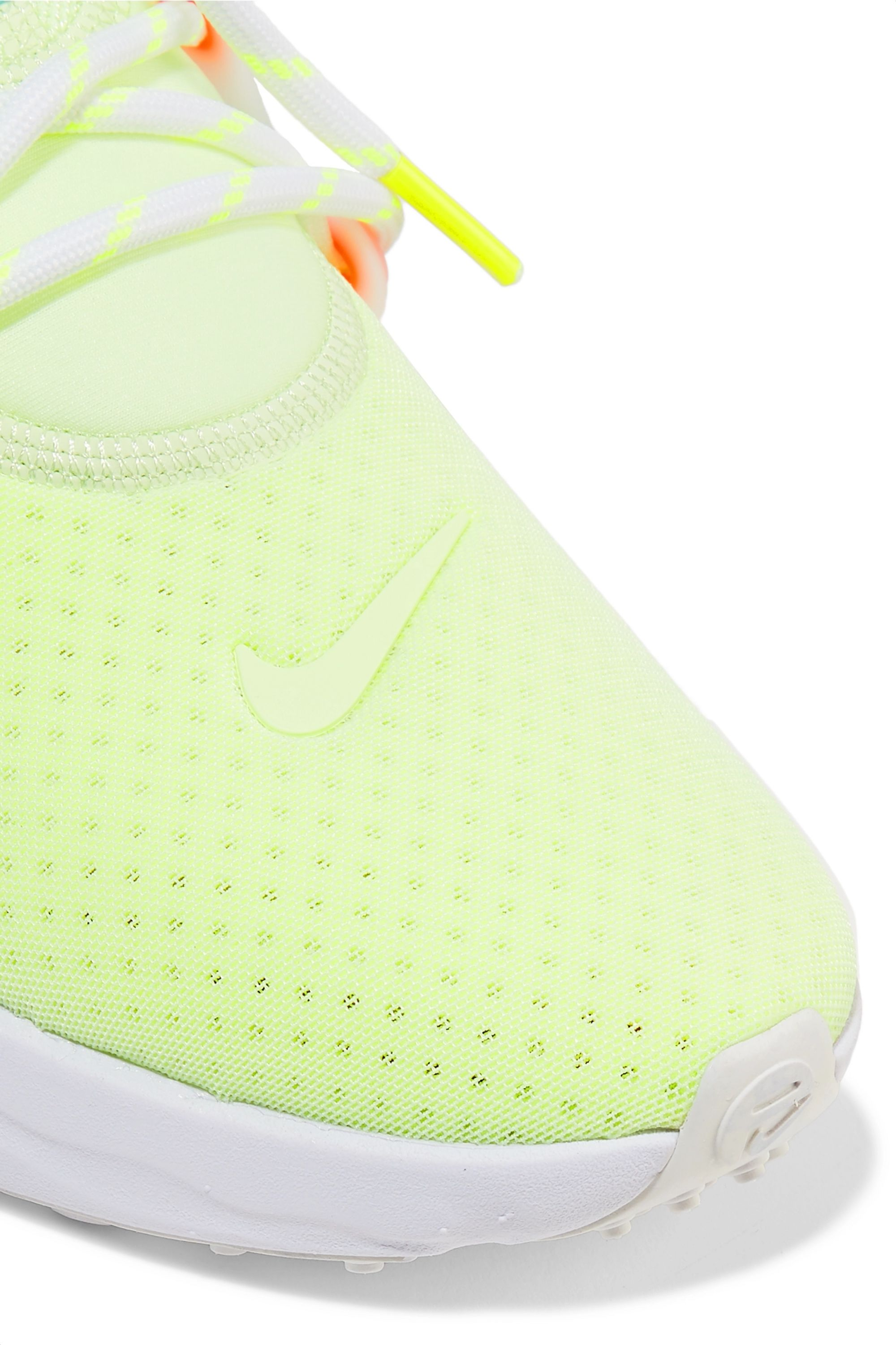 Nike React Presto neon suede and rubber-trimmed mesh sneakers
