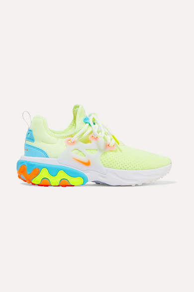 offer discounts utterly stylish buy best React Presto neon suede and rubber-trimmed mesh sneakers