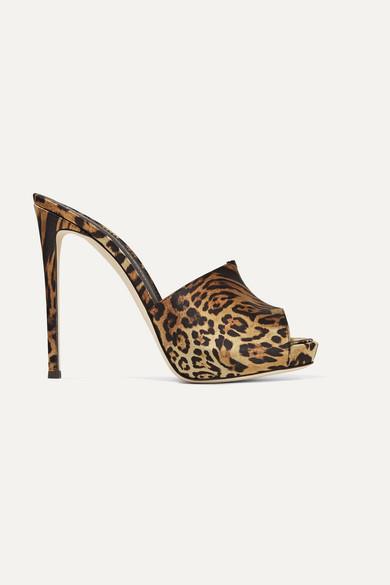 Giuseppe Zanotti Satin Cheetah Platform Slide Sandals In Leopard Print