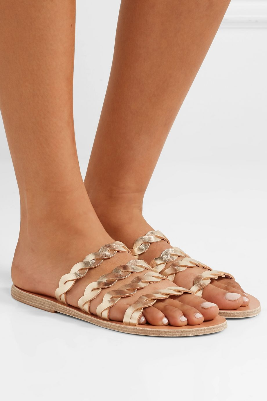 Ancient Greek Sandals Kynthia braided metallic leather sandals