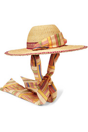 Silk-trimmed printed straw hat