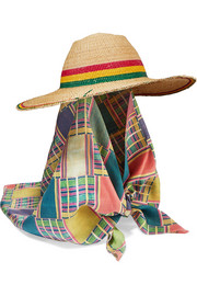 Striped silk-trimmed straw hat
