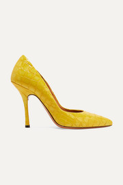 Dries Van Noten Croc-effect patent-leather pumps