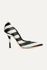 Striped satin pumps