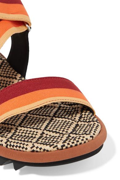 Dries Van Noten Sandals Suede and striped canvas sandals