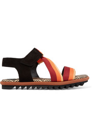 Suede and striped canvas sandals