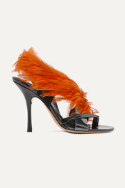 Dries Van Noten Feather-embellished PVC and leather sandals