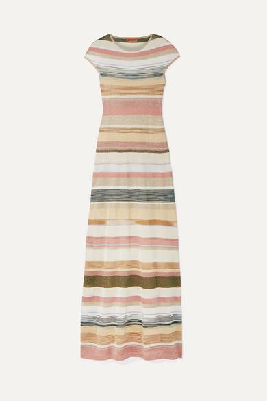 MISSONI | Missoni - Striped Metallic Crochet-Knit Maxi Dress - Gold | Goxip