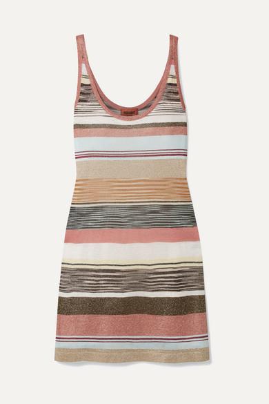MISSONI | Missoni - Metallic Striped Crochet-Knit Tunic - Beige | Goxip