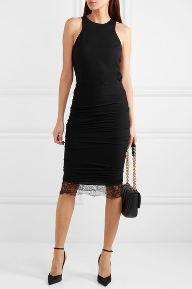 Tom Ford Skirts Lace-trimmed ruched stretch-crepe skirt