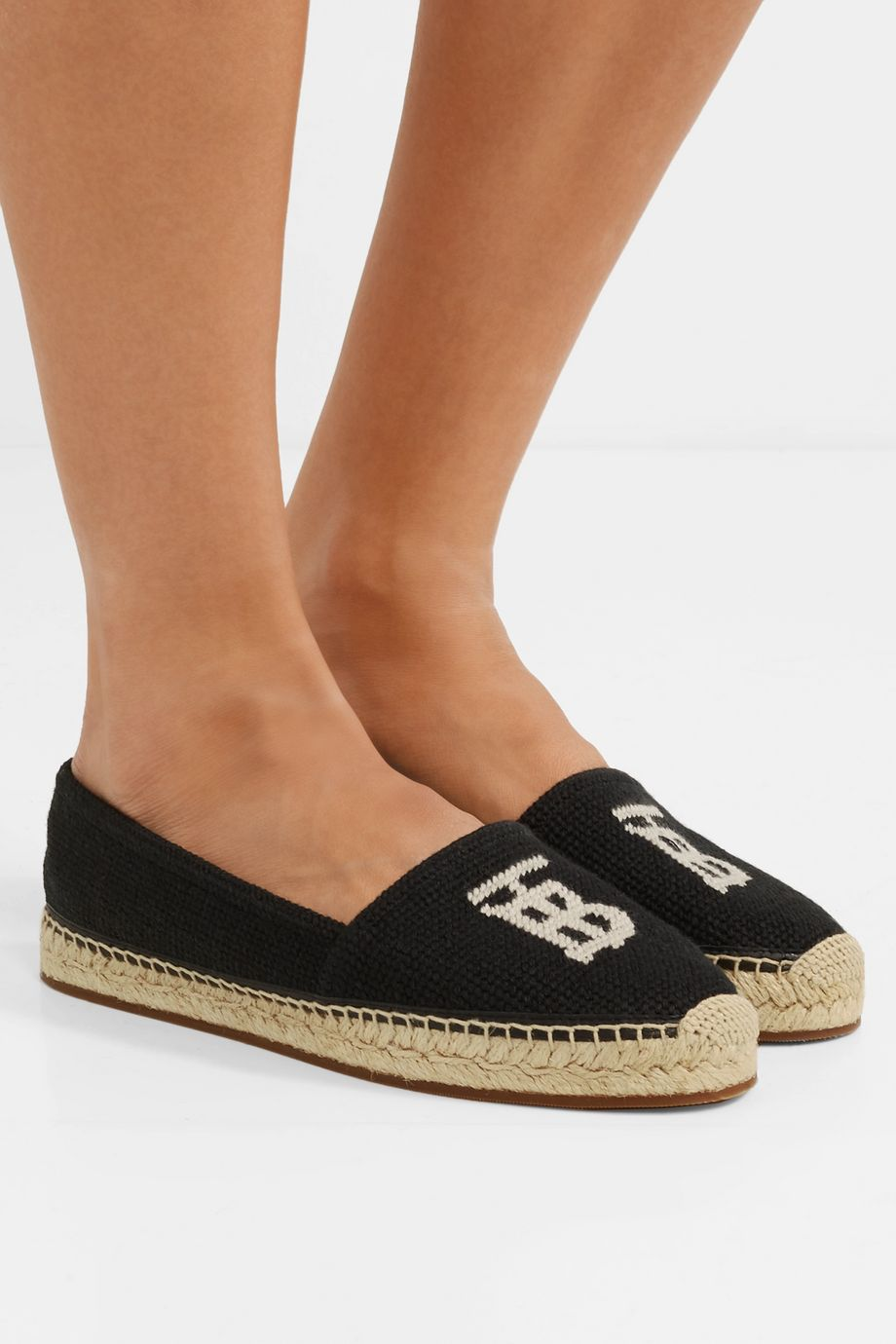 Burberry Tabitha leather-trimmed logo-detailed canvas espadrilles