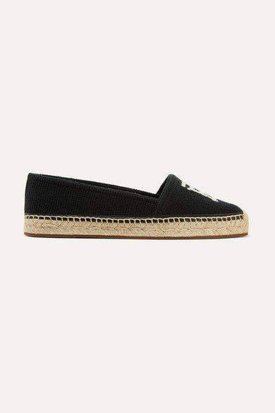 BURBERRY   Burberry - Tabitha Leather-Trimmed Logo-Detailed Canvas Espadrilles - Black   Goxip