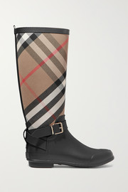 Burberry Checked cotton-canvas and rubber rain boots