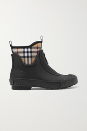 Burberry Checked canvas and rubber rain boots