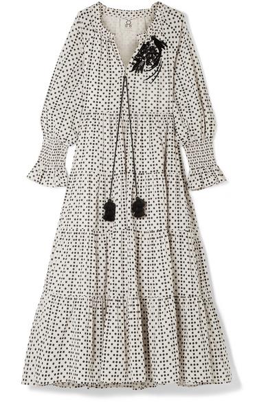 Figue Dresses Bella sequin-embellished polka-dot cotton-voile maxi dress