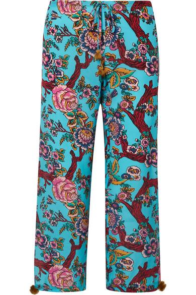 Figue Beachwear Goa cropped printed silk crepe de chine pants